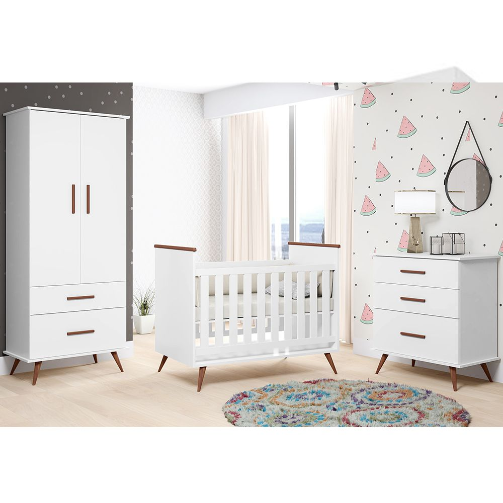 Quarto de Bebê com Berço + Guarda Roupa + Cômoda Retro Gabi - Phoenix Baby