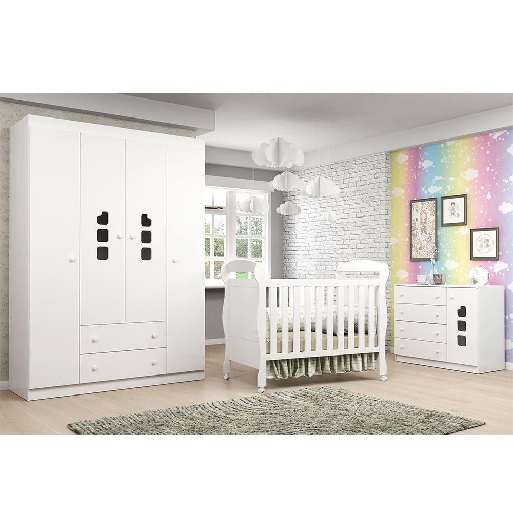 Quarto de Bebê com Berço Dan + Guarda Roupa 4 Portas + Cômoda Livia - Phoenix Baby