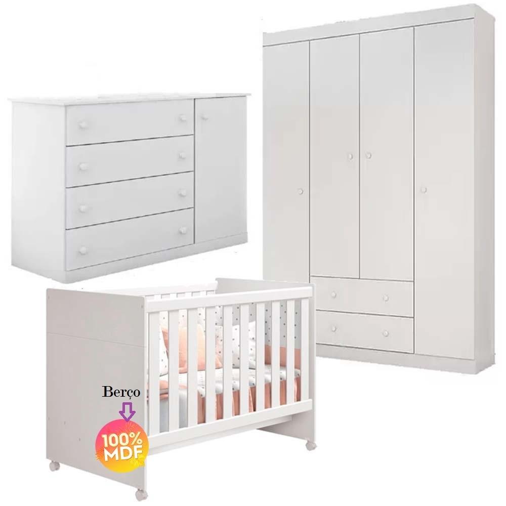Quarto de Bebê Com Guarda Roupa 4 Portas + Cômoda Helena + Berço Mini Cama Katatau - EM Moveis