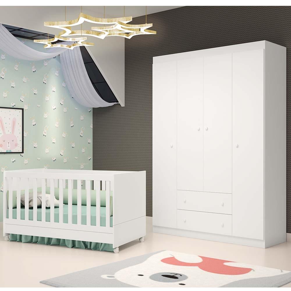 Quarto de Bebê Com Guarda Roupa 4 Portas Helena + Berço Mini Cama Emile - EM Moveis