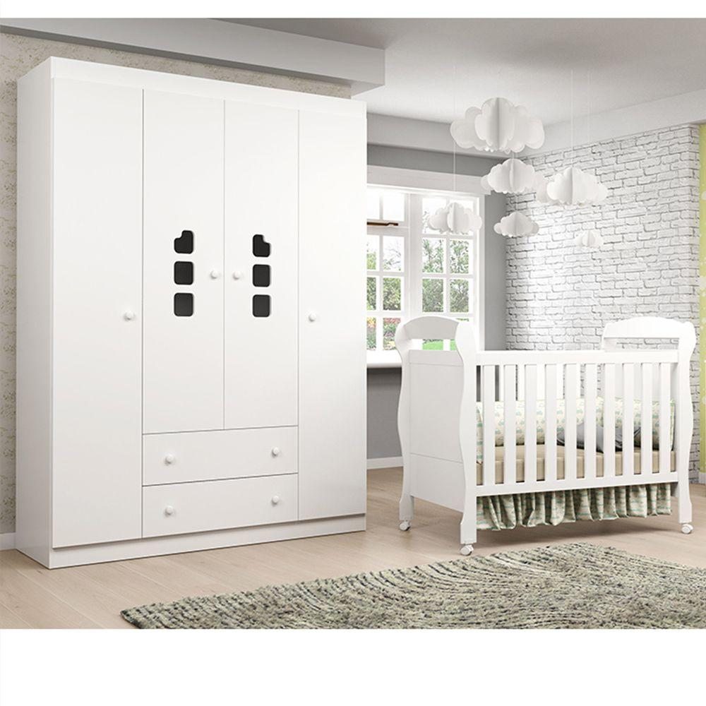 Quarto de Bebê com Guarda Roupa 4 Portas Livia Phoenix Baby + Berço