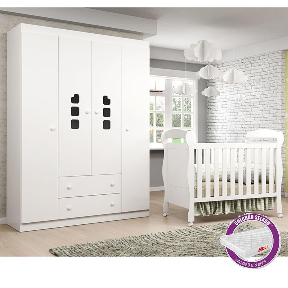 Quarto de Bebê com Guarda Roupa 4 Portas Livia Phoenix Baby + Berço + Colchão