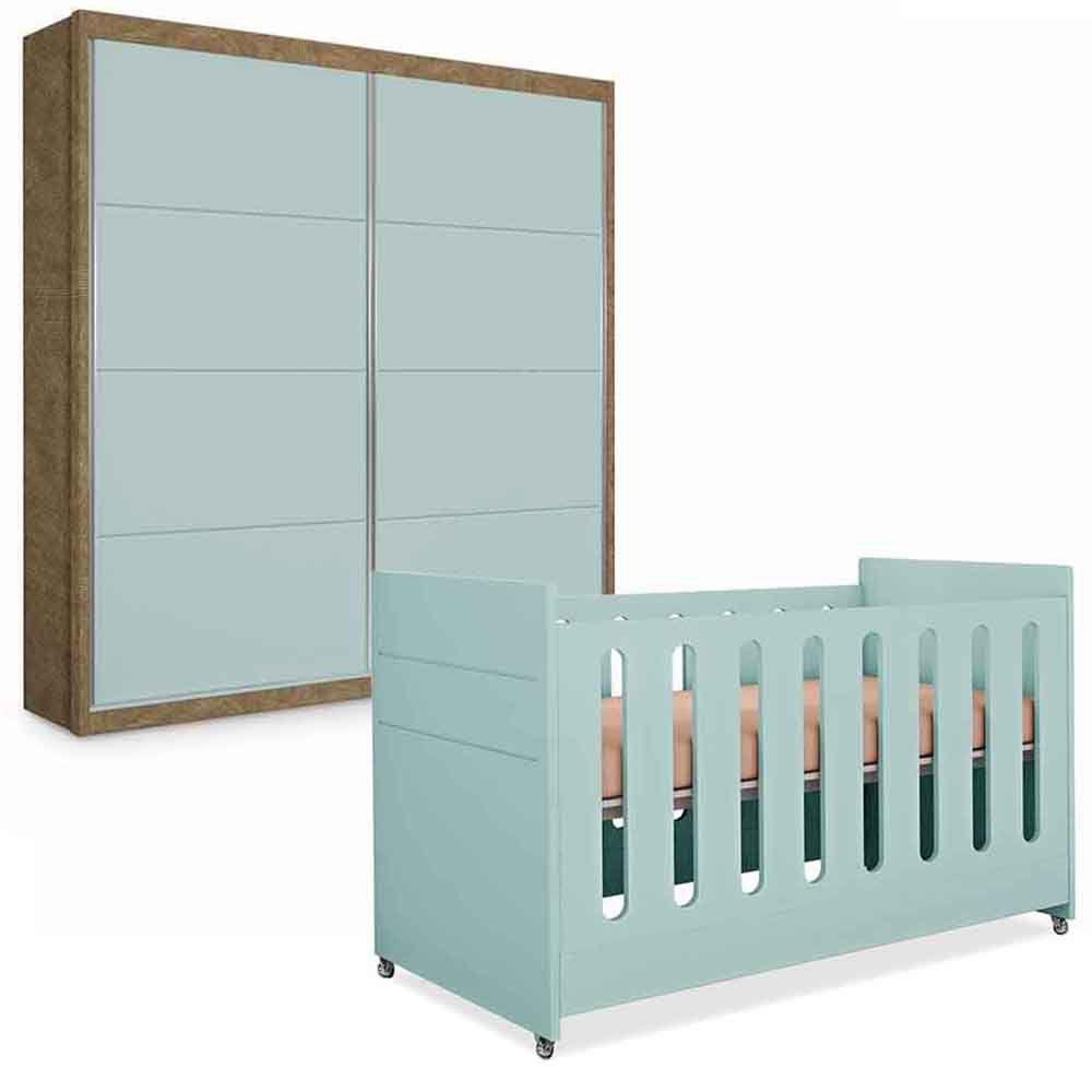 Guarda Roupa Infantil Premium Plus 2 Portas Deslizante  + Berço Affeto - Planet Baby