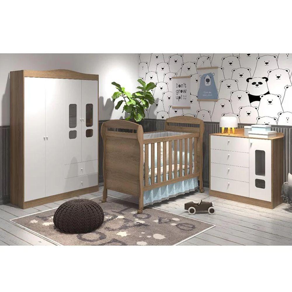 Quarto de Bebê Danny Com Guarda Roupa 4 Portas + Cômoda + Berço Mini Cama - Reller