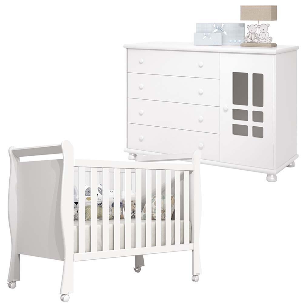 Quarto de Bebê Davi com  Berço e Cômoda - Cinza - EM Moveis