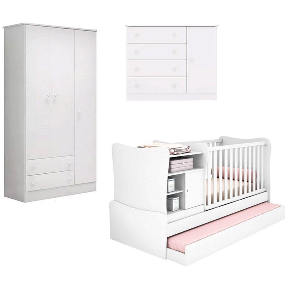 Quarto De Bebê Doce Sonho  Guarda Roupa 2617 3 Portas + Cômoda 2523 + Berço Multifuncional 280 Cama Auxiliar Branco - Qmovi