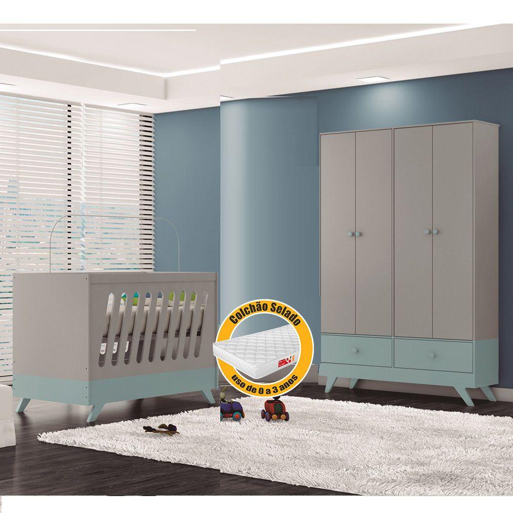Quarto de Bebê Duda com Guarda Roupa + Berço Cinza Acetinado/Azul  + Colchão - Canaã Baby