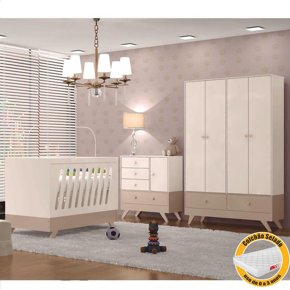 Quarto de Bebê Duda com Guarda Roupa + Cômoda + Berço Branco Off White/Chocolate + Colchão - Canaã Baby