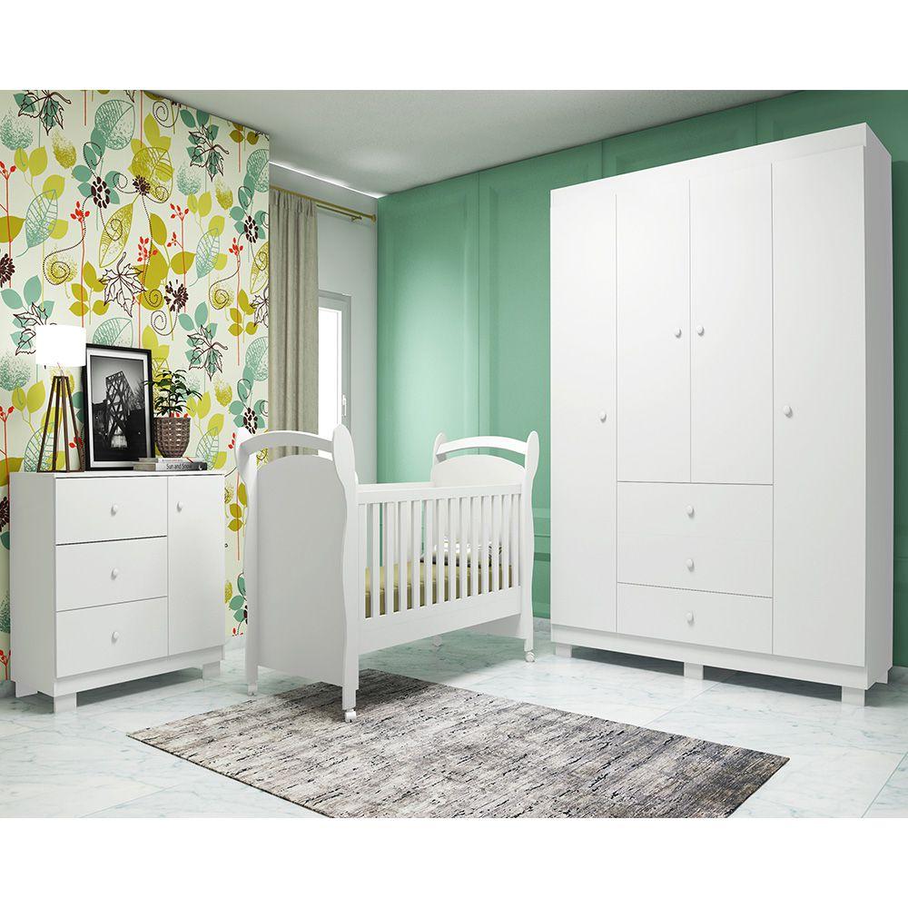 Quarto de Bebê Emile Slim com Guarda Roupa 4 Portas + Cômoda + Berço Mini Cama 251