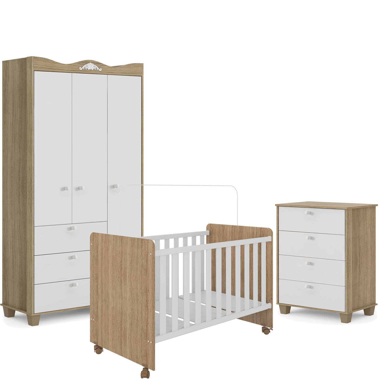 Quarto de bebe - Guarda Roupa  3 portas + Cômoda 4 gavetas Lilly  + Berço Visione - Branco/Carvalho- FIORELLO