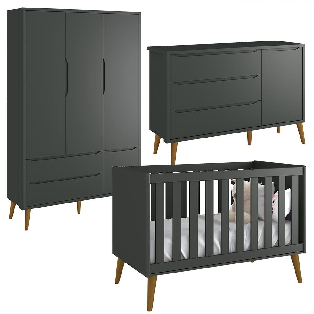 Quarto de Bebê Guarda Roupa 3 Portas Cômoda Sapateira e Berço Theo Retro Pes Madeira - Reller