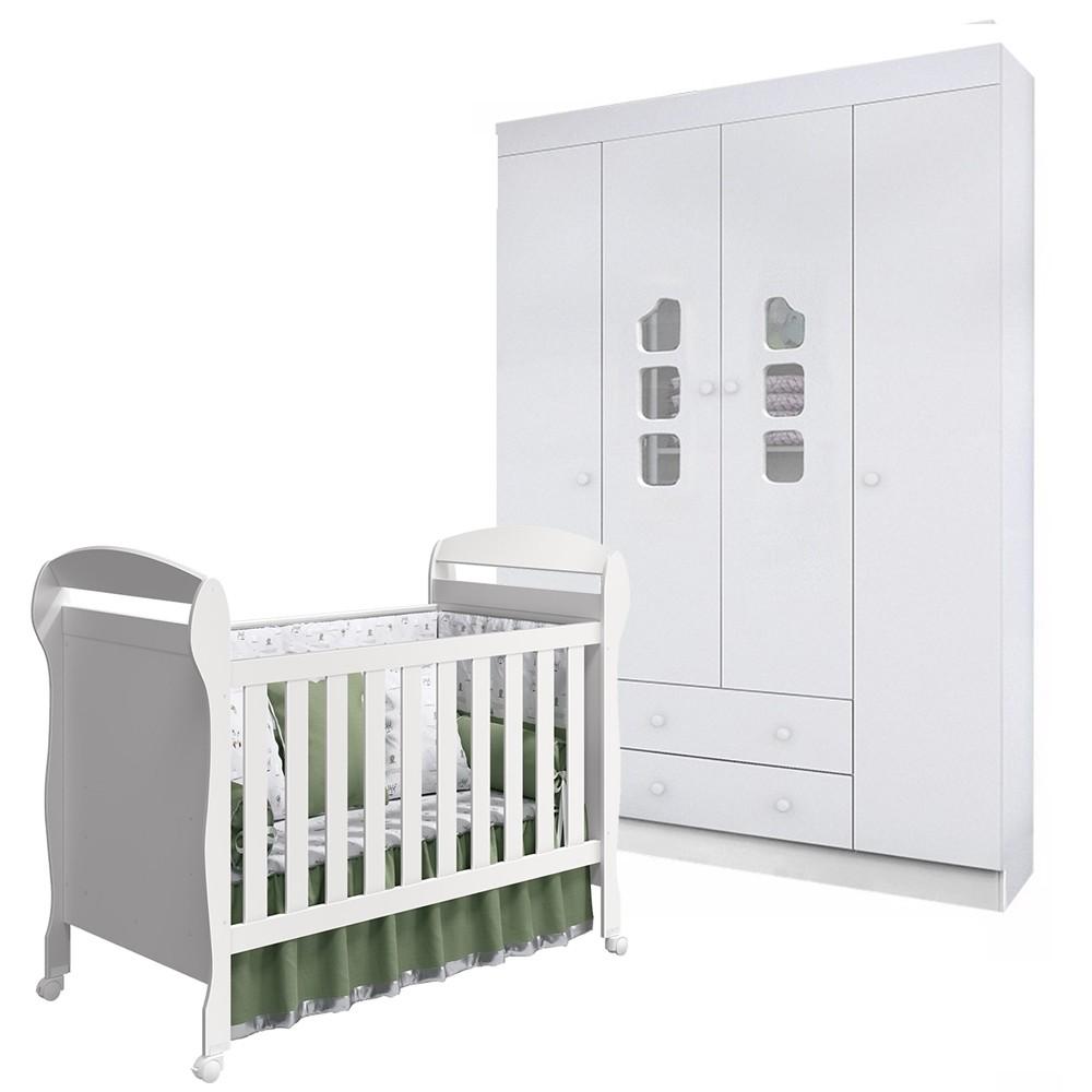 Quarto de Bebê Guarda Roupa 4 Portas Ana Livia + Berço Dan