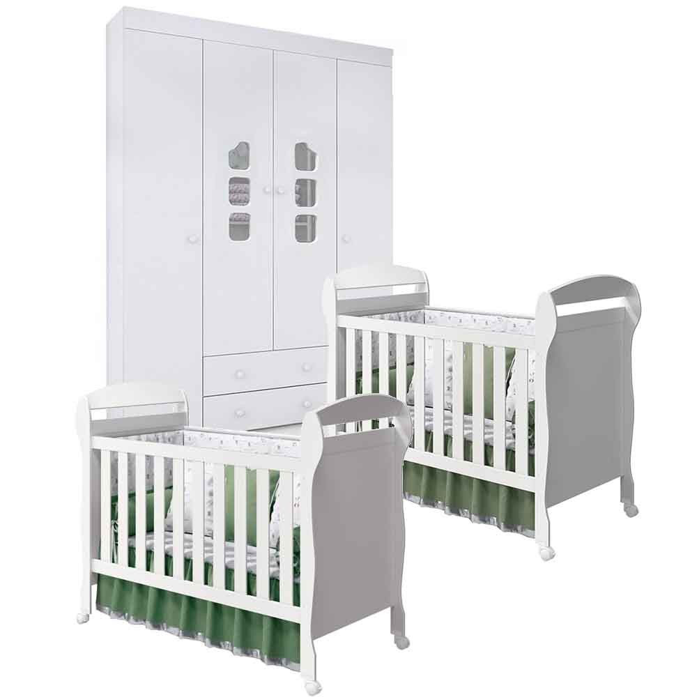 Quarto de Bebê Com Guarda Roupa 4 Portas  Ana Livia + Berço Danny - Kit Gêmeos