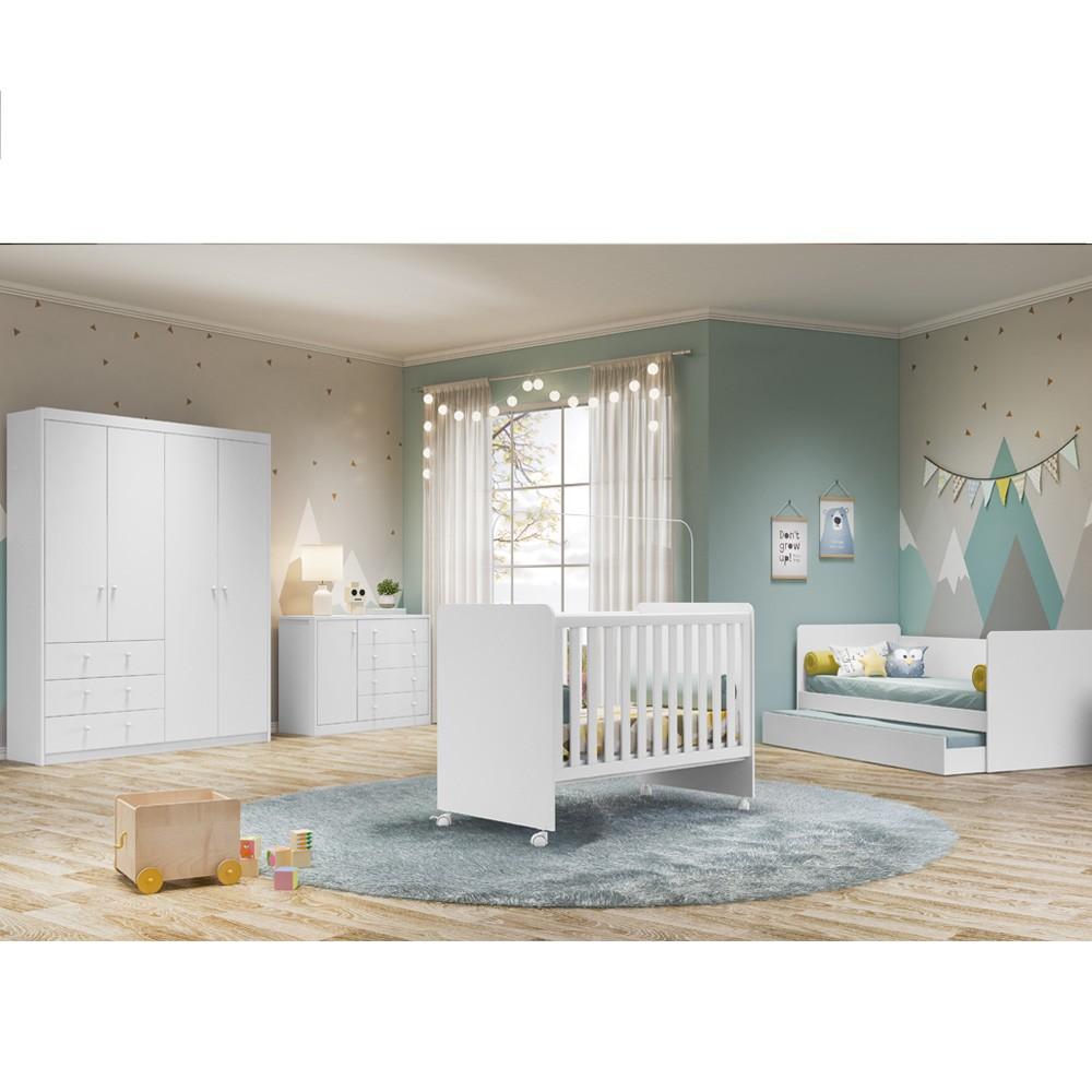 Quarto de Bebê Guarda Roupa 4 Portas + Cômoda + Cama Babá  com Aux  My Baby + Berço Visione - Fiorello