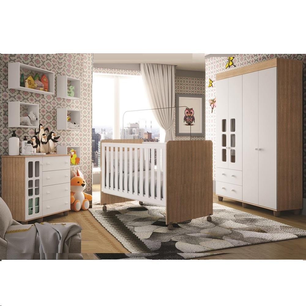 Quarto de bebe - Guarda Roupa 4 Portas + Cômoda Sapateira  Naninha Plus + Berço Visione - Branco/Carvalho- FIORELLO