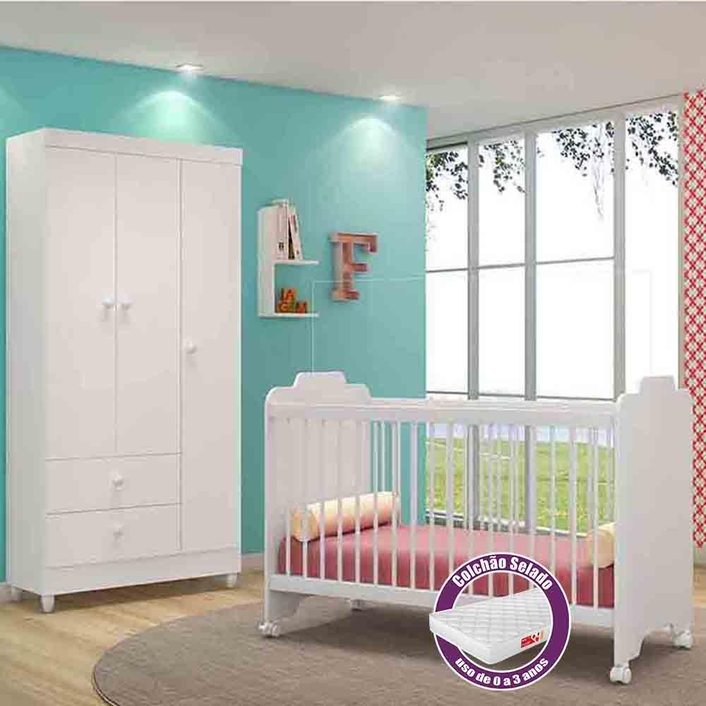 Quarto de Bebê Guarda Roupa + Berço Vitoria + Colchão - Branco - Peternella