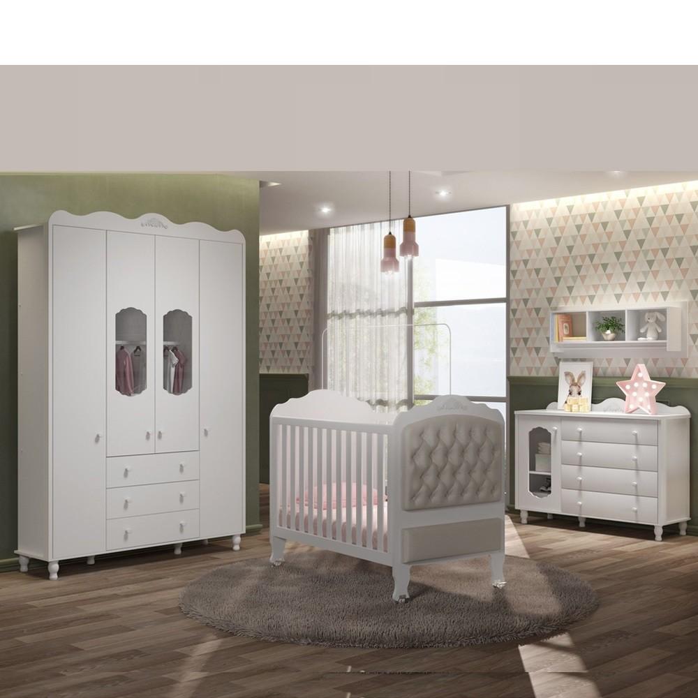 Quarto de bebe - Guarda Roupa 4 portas + Comoda sapateira + Berço  Sonhare - BRANCO  - FIORELLO