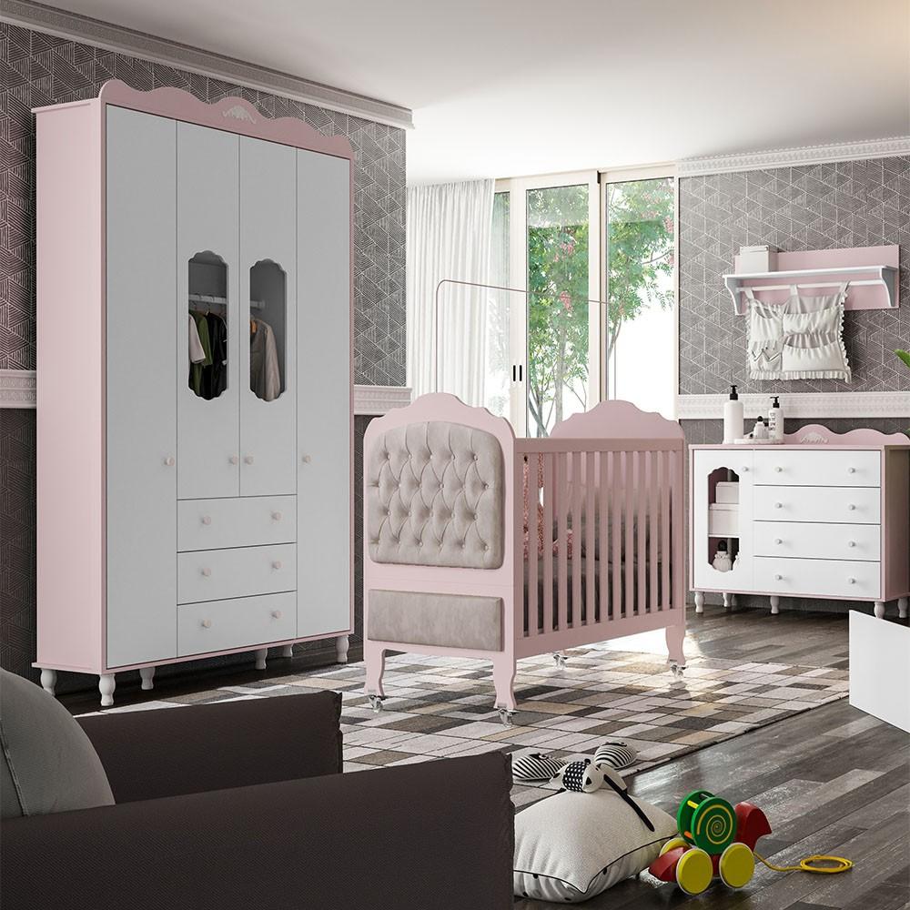 Quarto de bebe - Guarda Roupa 4 Portas + Cômoda Sapateira + Berço Sonhare Rosé Quartz  - FIORELLO