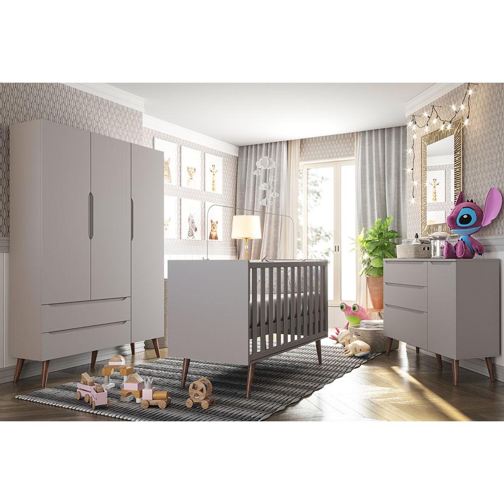 Quarto de bebe - Guarda Roupa + Comoda Smart + Berço Colore  Cinza  pés Retro - FIORELLO