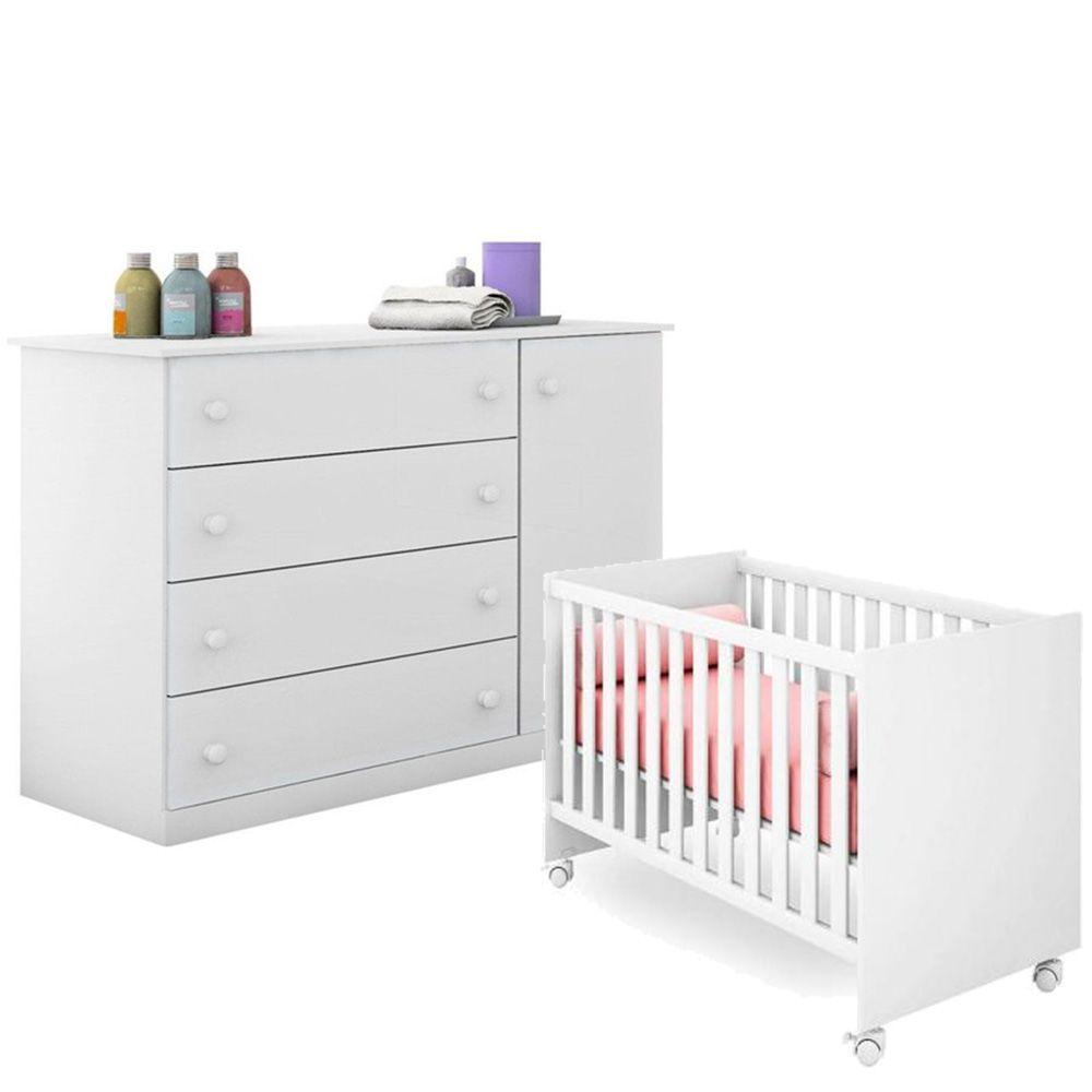 Quarto de Bebê Helena Com Cômoda + Berço 100  - EM Móveis