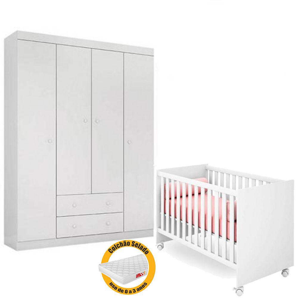 Quarto de Bebê Helena Com Guarda Roupa 4 Portas  + Berço 100 + Colchão - EM Móveis