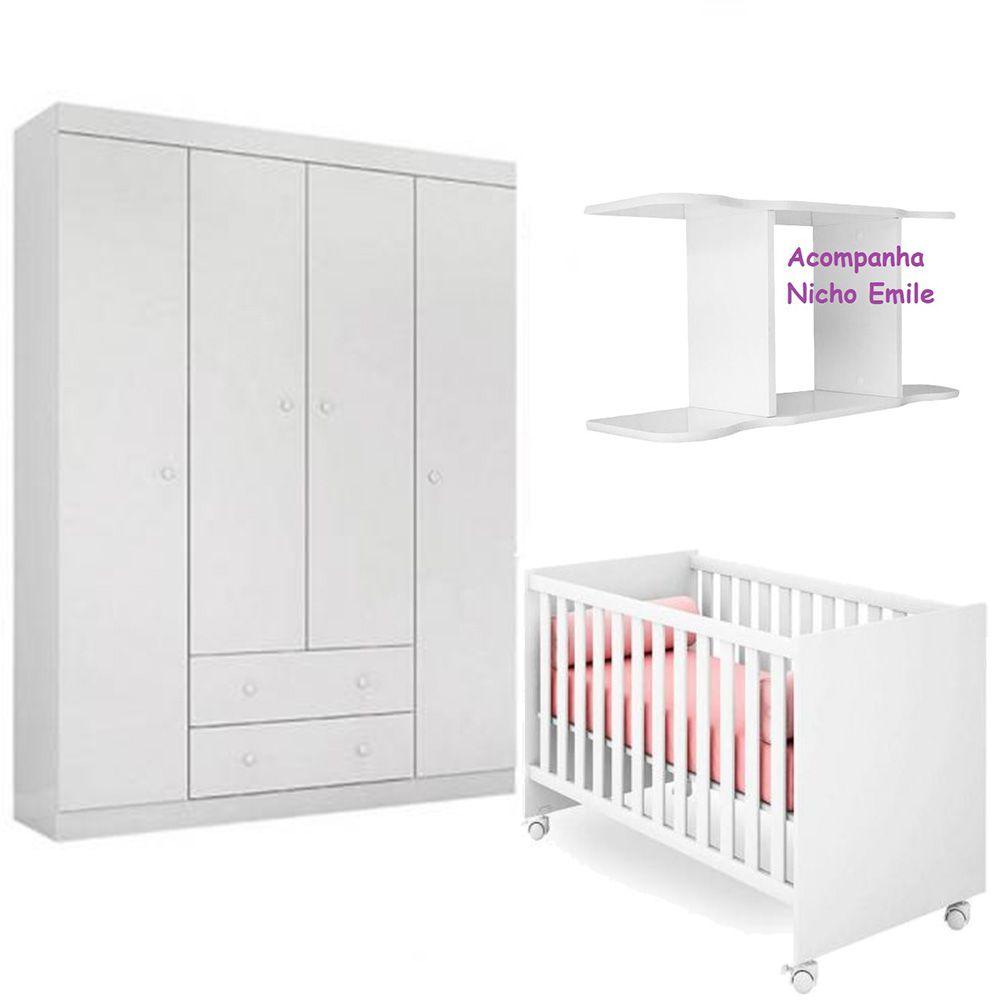 Quarto de Bebê Helena Com Guarda Roupa 4 Portas  + Berço Mini Cama 100 + Nicho - Phoenix Baby
