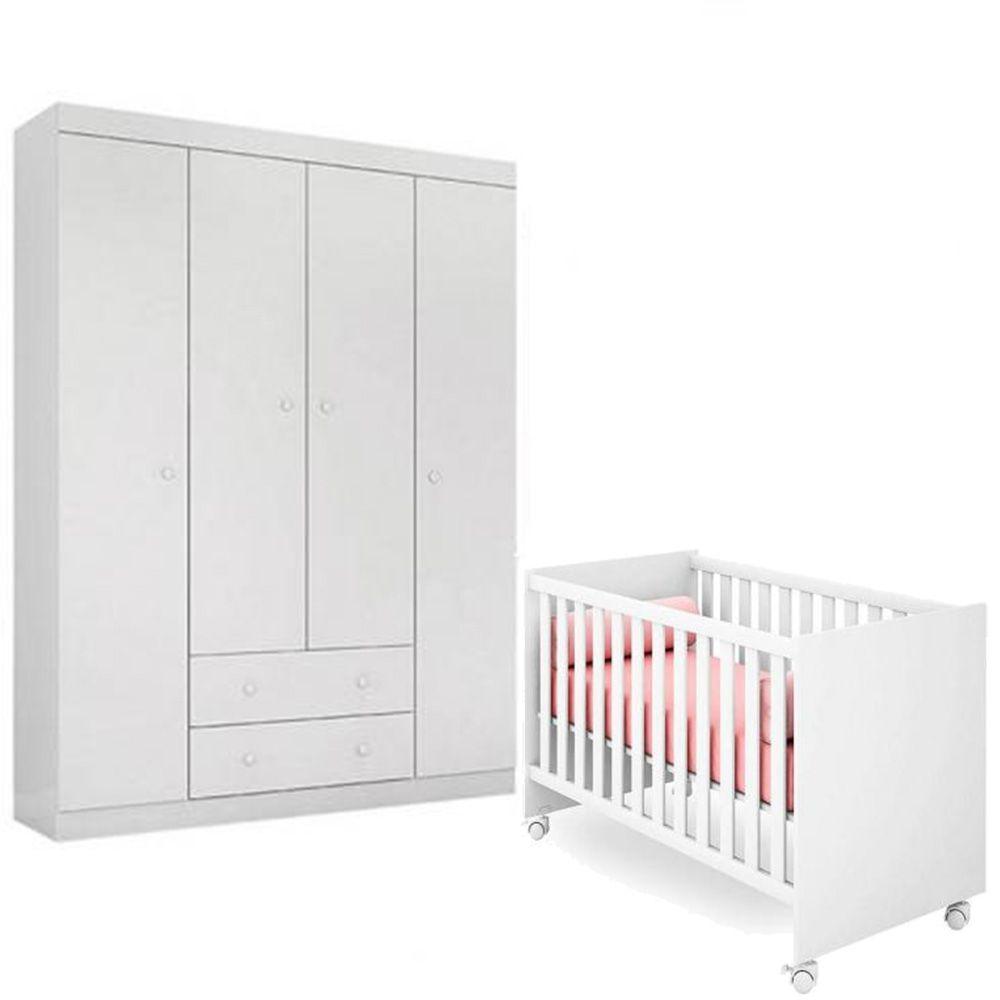 Quarto de Bebê Helena Com Guarda Roupa 4 Portas  + Berço Mini Cama - EM Móveis