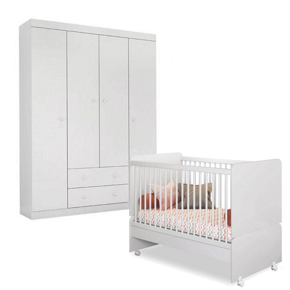 Quarto de Bebê Helena com Guarda Roupa 4 Portas + Berço Mini Cama SR - EM Móveis