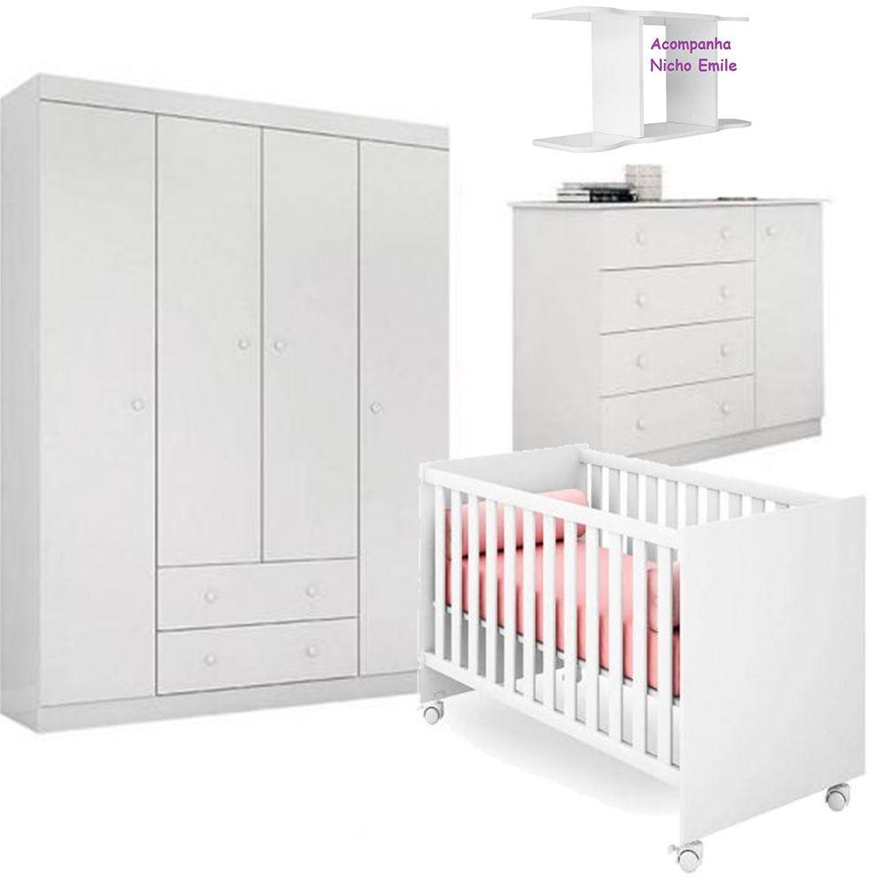 Quarto de Bebê Helena Com Guarda Roupa 4 Portas + Cômoda + Berço Mini Cama 100 + Nicho - EM Móveis