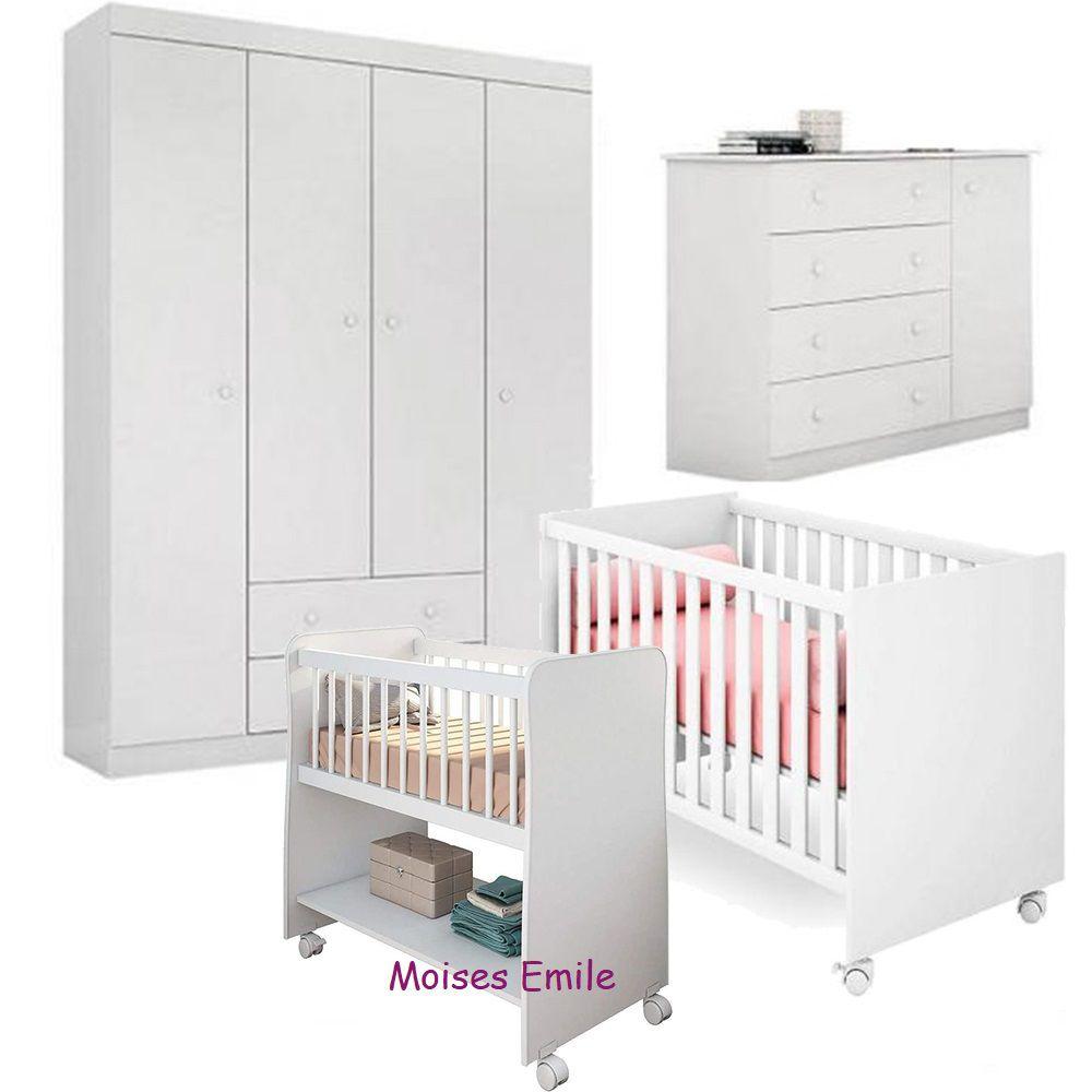 Quarto de Bebê Helena Com Guarda Roupa + Cômoda + Berço 100 + Berço Moises - EM Móveis