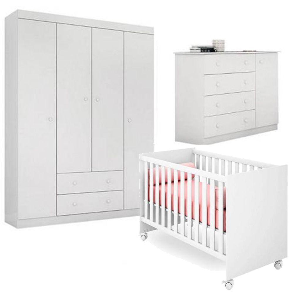 Quarto de Bebê Helena Com Guarda Roupa + Cômoda + Berço - EM Móveis