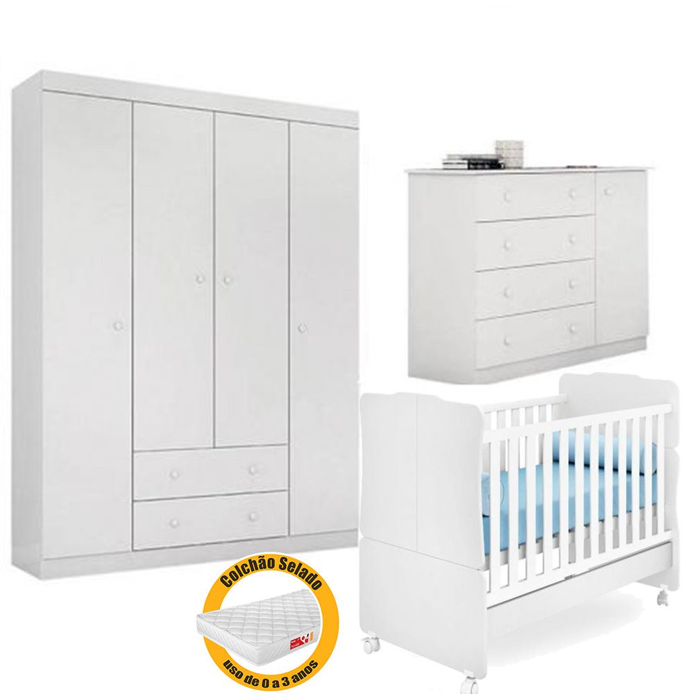 Quarto de Bebê Helena Com Guarda Roupa + Cômoda + Berço 230 + Colchão - EM Móveis