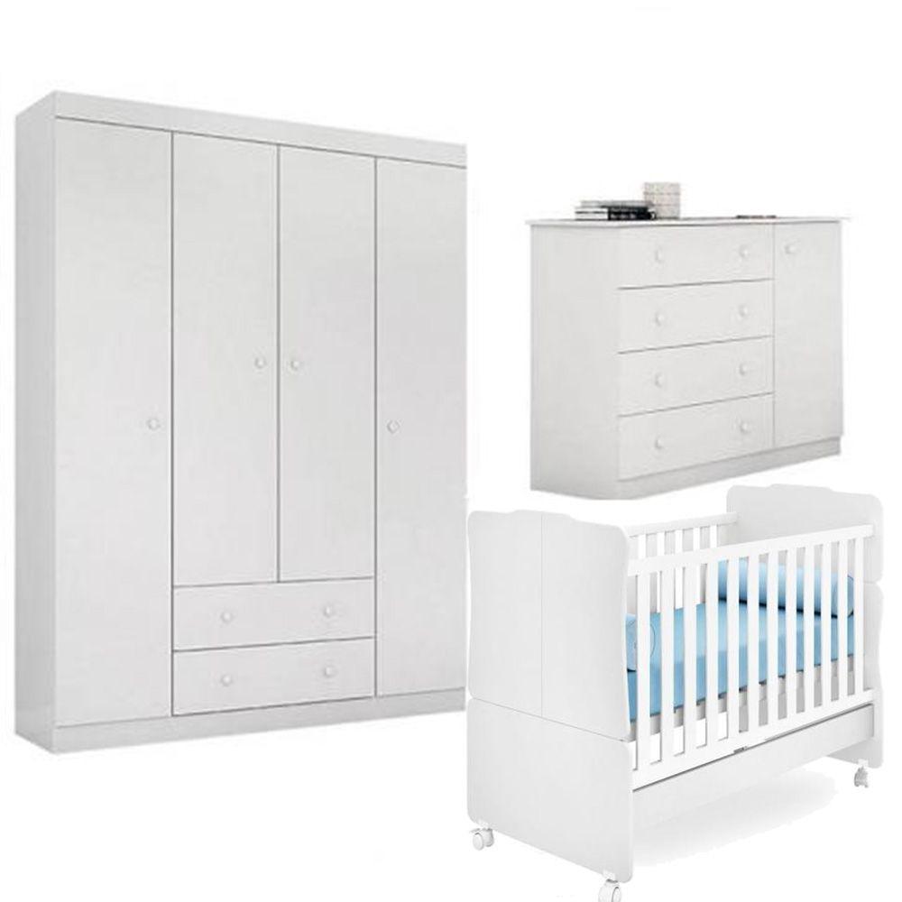 Quarto de Bebê Helena Com Guarda Roupa + Cômoda + Berço 230 - EM Móveis