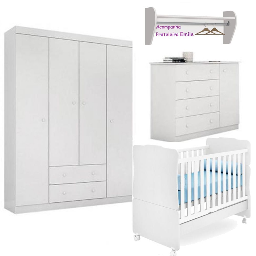 Quarto de Bebê Helena Com Guarda Roupa + Cômoda + Berço 230  + Prateleira - EM Móveis
