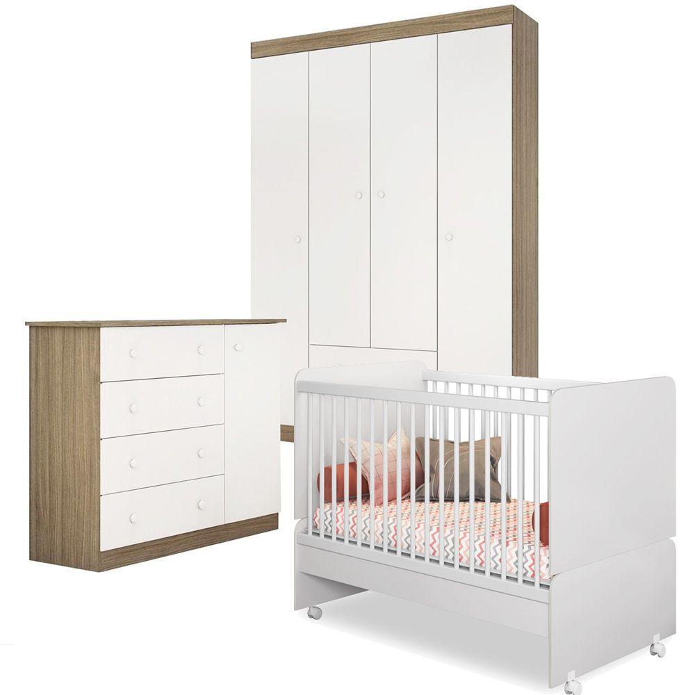 Quarto de Bebê Helena Com Guarda Roupa + Cômoda + Berço Mini Cama SR - Phoenix Baby