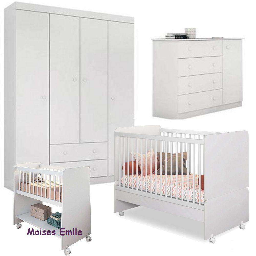 Quarto de Bebê Helena com Guarda Roupa + Cômoda + Berço Mini Cama SR + Berço Moises - EM Móveis