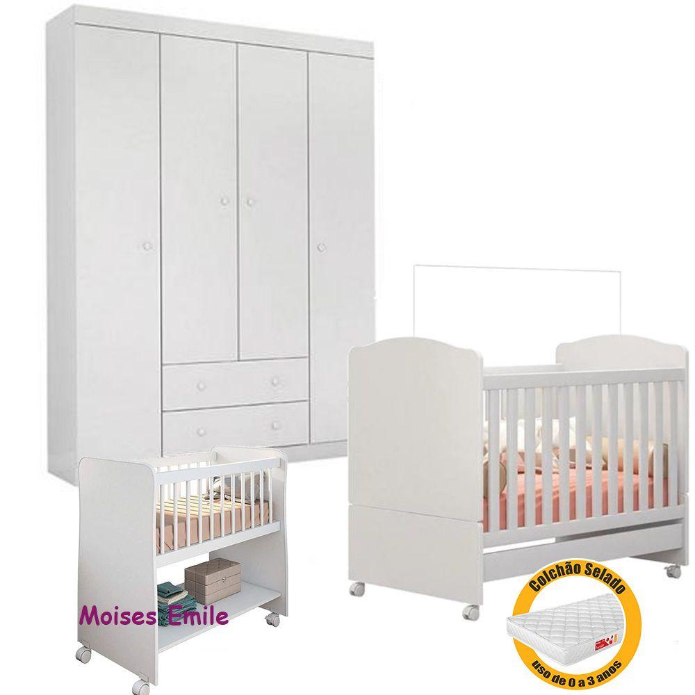 Quarto de Bebê Helena Guarda Roupa + Berço Mini Cama + Berço Moises + Colchão - EM Móveis