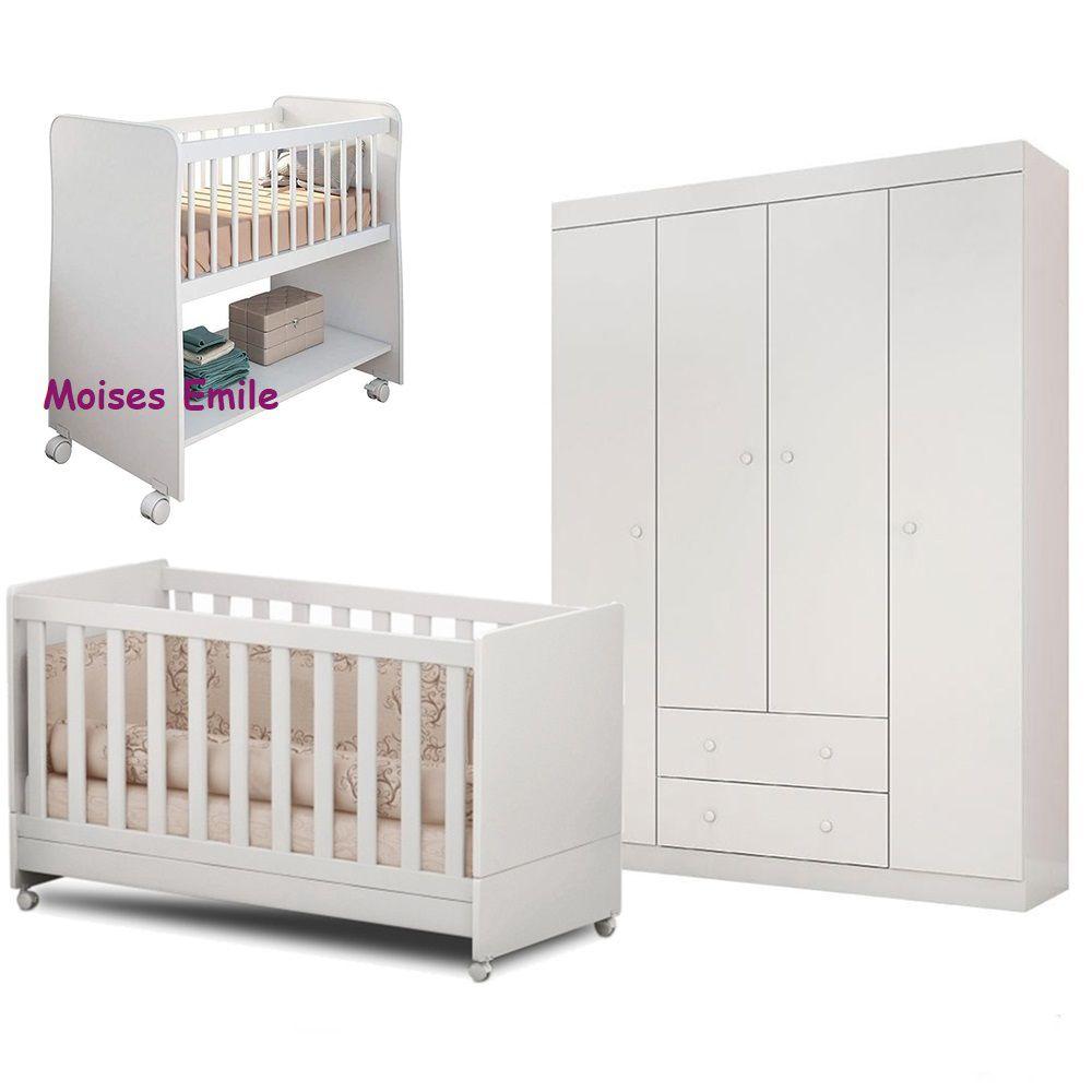 Quarto de Bebê Helena Guarda Roupa + Berço Mini Cama + Berço Moises - EM Móveis