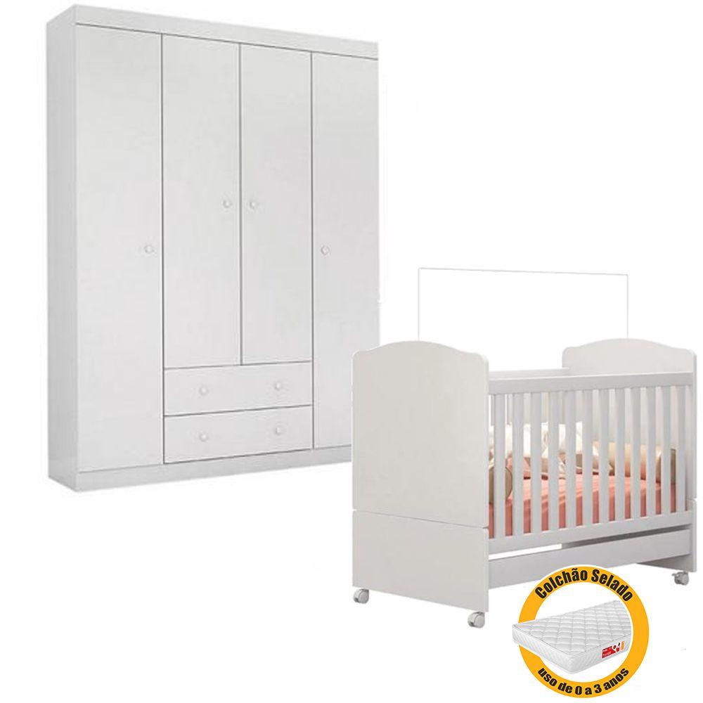 Quarto de Bebê Helena Guarda Roupa + Berço Mini Cama  + Colchão - EM Móveis