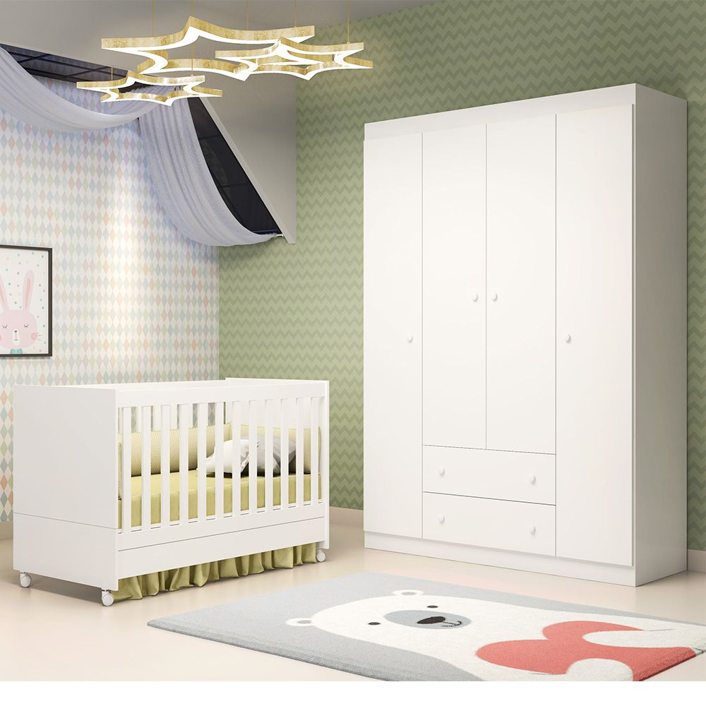 Quarto de Bebê Helena Guarda Roupa + Berço Mini Cama - EM Móveis
