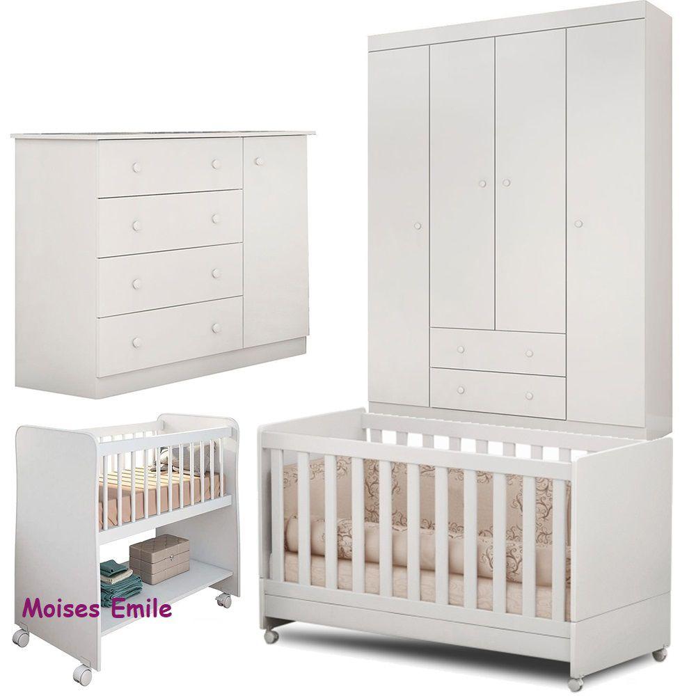 Quarto de Bebê Helena Guarda Roupa + Cômoda + Berço Mini Cama + Berço Moises - EM Móveis