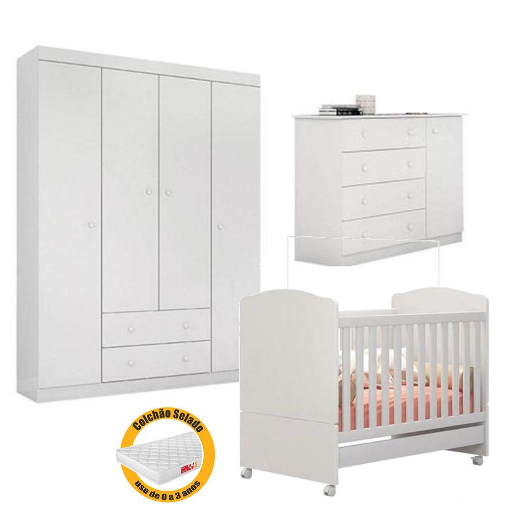 Quarto de Bebê Helena Guarda Roupa + Cômoda + Berço Mini Cama + Colchão - EM Móveis