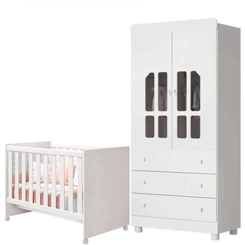Quarto  de Bebê  Katatau Com Guarda Roupa 2 Portas + Berço - Branco - Reller