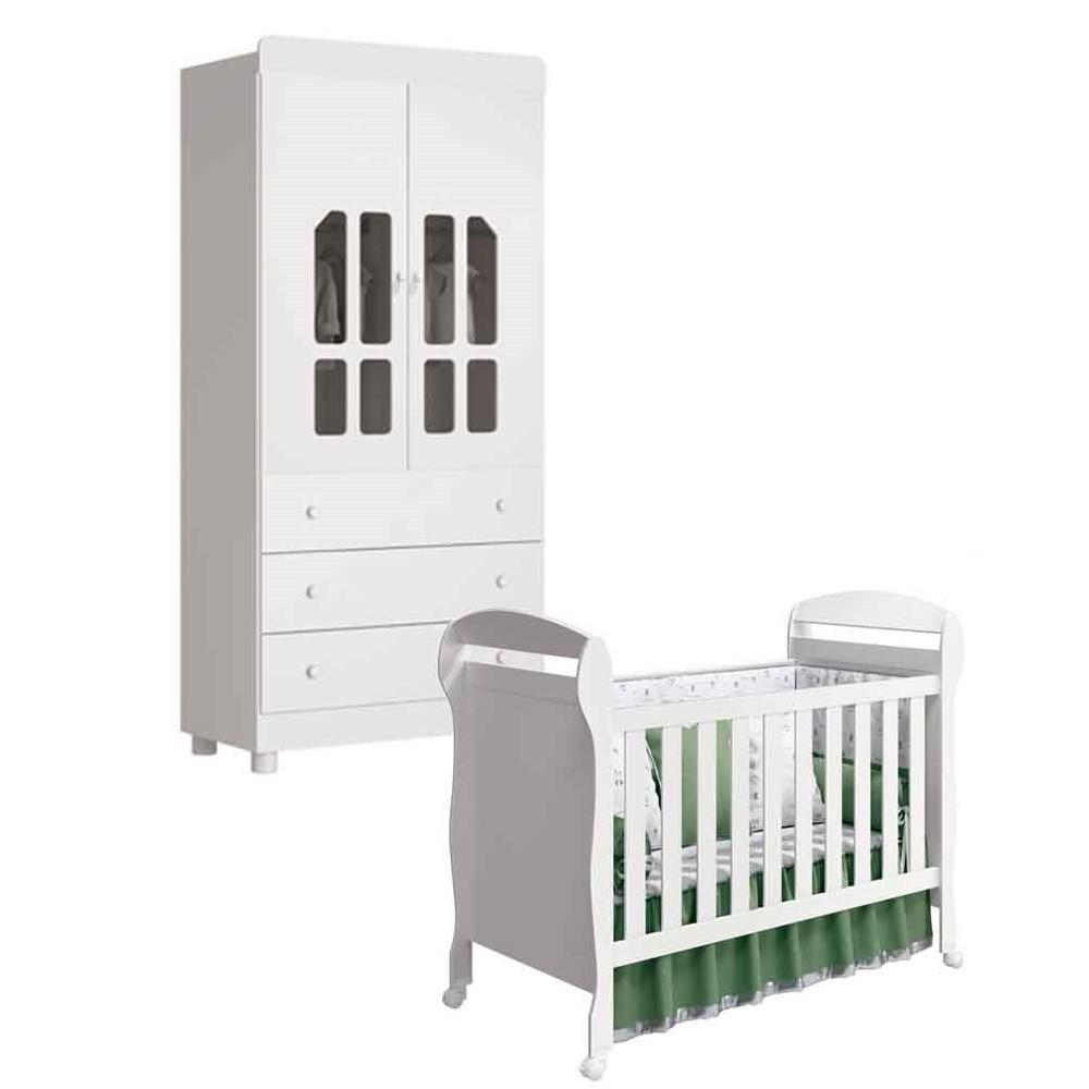 Quarto de Bebê Katatau Com Guarda Roupa 2 Portas + Berço Dan  - Reller