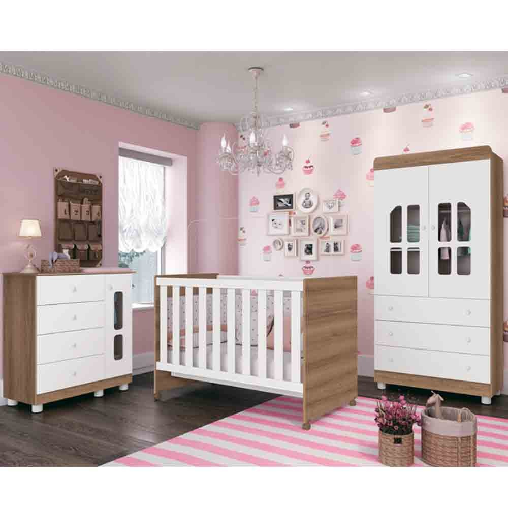 Quarto de Bebê Katatau Com Guarda Roupa 2 Portas + Cômoda + Berço  - Branco/Menzzo - Reller