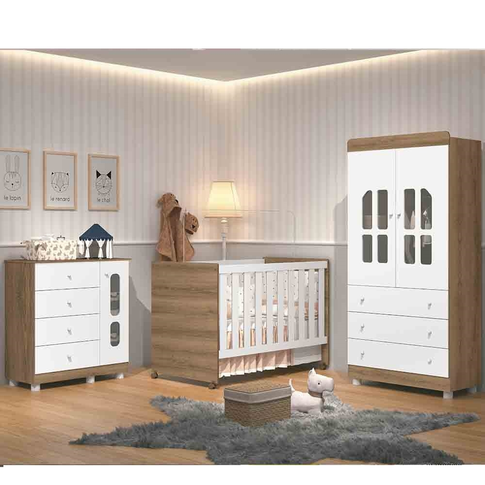 Quarto de Bebê Katatau Com Guarda Roupa 2 Portas + Cômoda + Berço  - Branco - Reller