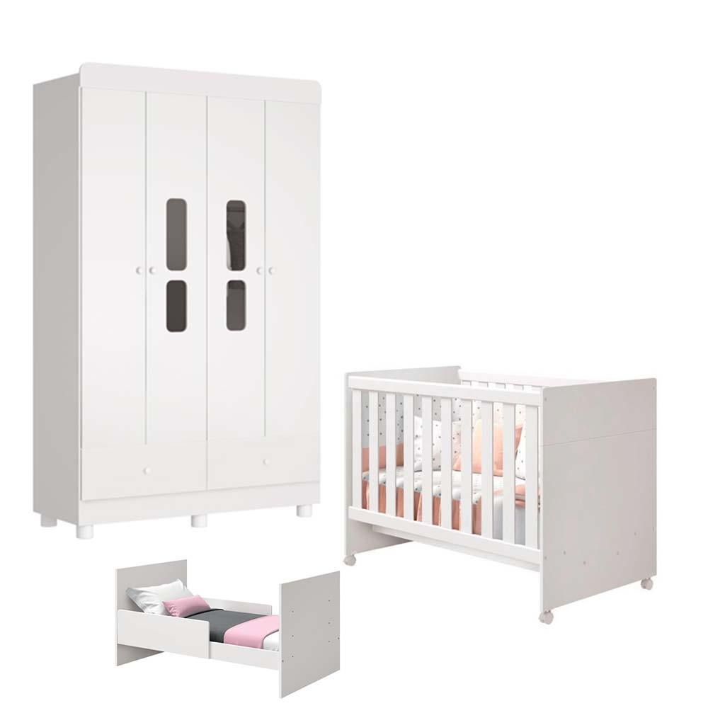 Quarto de Bebê Katatau Com Guarda Roupa 4 Portas + Berço  - Reller