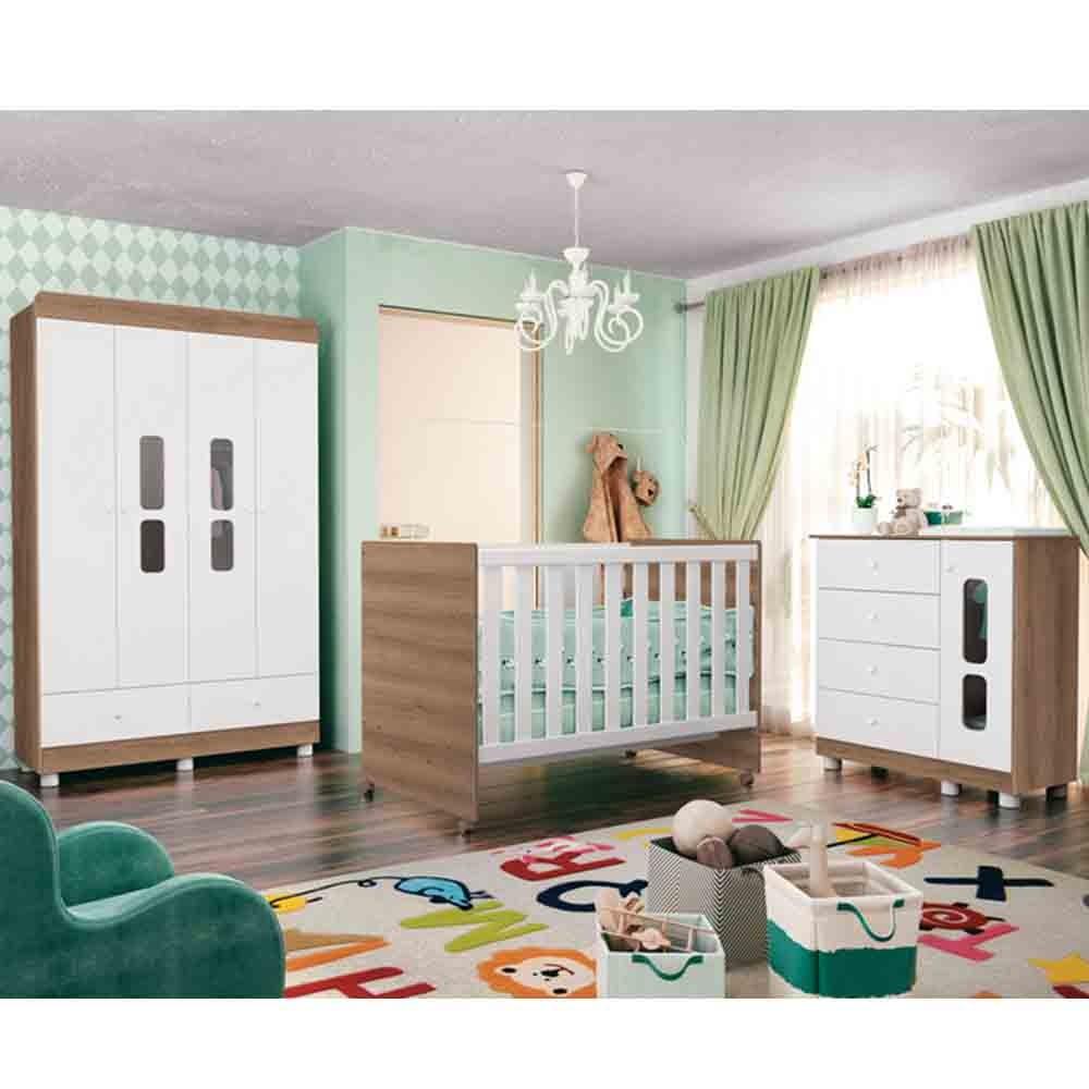 Quarto De Bebê Katatau Com Guarda Roupa 4 Portas + Cômoda + Berço  - Branco/Menzzo - Reller