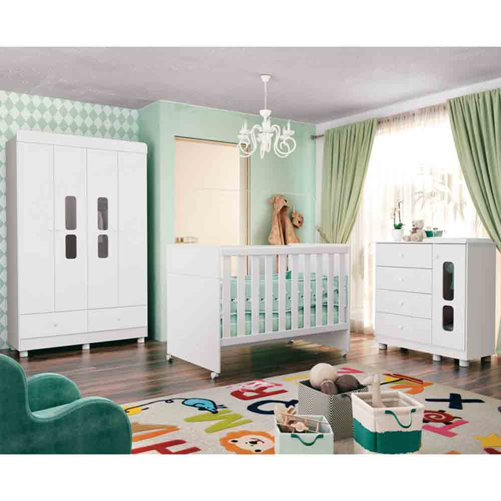 Quarto de Bebê Katatau Com Guarda Roupa 4 Portas + Cômoda + Berço  - Reller