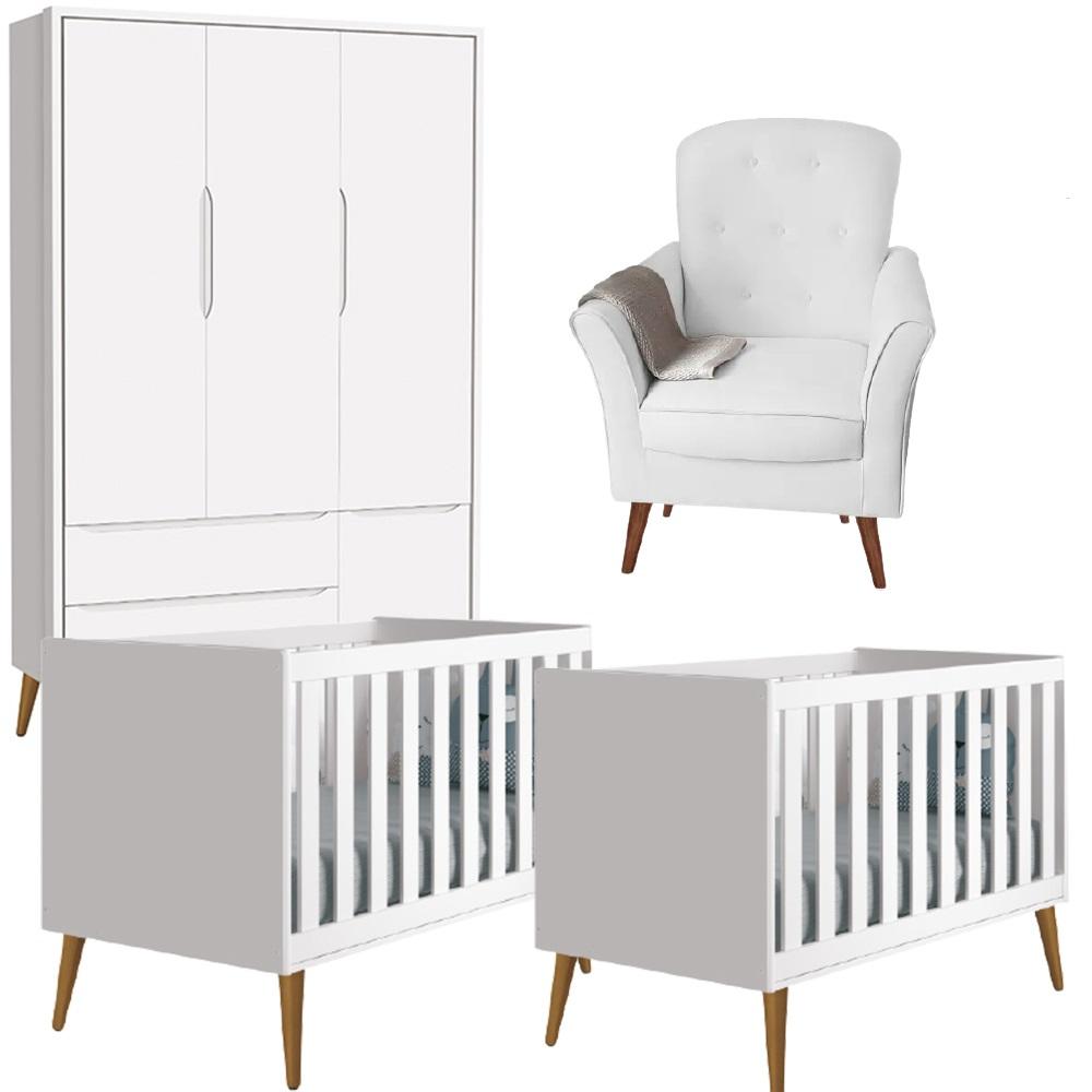 Quarto de Bebê Kit Gêmeos Theo Classic Guarda Roupa 3 Portas, 2 Berço Mini Cama e Poltrona de Amamentação - Reller